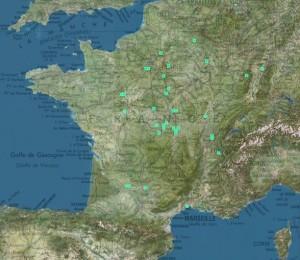 Exemple de carte de répartition d'une espèce - Nosodendron fasciculare